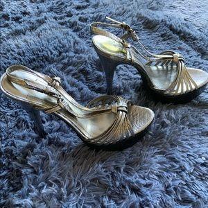 BCBG Silver sandal heels